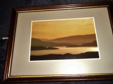 VINTAGE SMALL GLAZED FRAMED GLOSS CARD PRINT SEPIA MOOD WATER HILLS